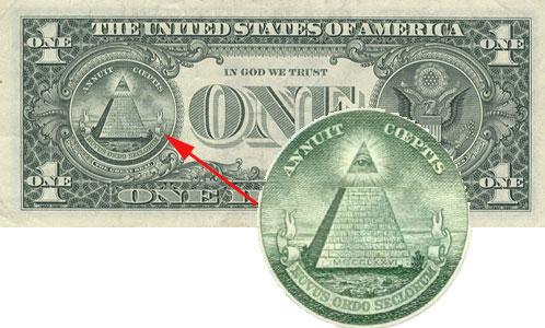 феншуй пирамида со всевидящим оком масонов на долларе